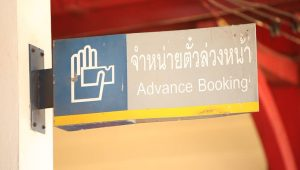hotel tips-board showing advance booking