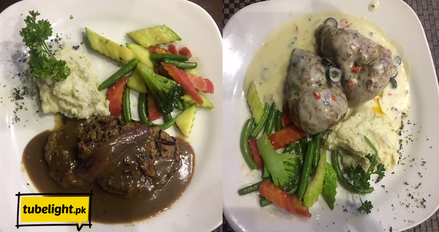 Left Beef Pepper Steak, Right Stuffed Chicken Butter