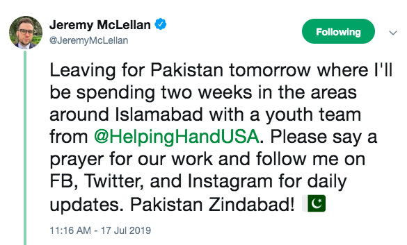Jeremy McLellan in Pakistan